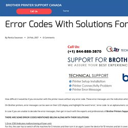 Error Codes With Solutions For Brother Printers