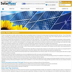 Solar Power Solutions for home and business - SolarMaxx
