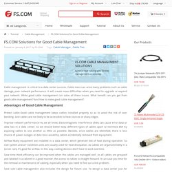 FS.COM Solutions for Good Cable Management