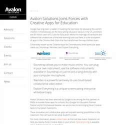 Avalon Solutions Joins Forces with Creative Apps for Education