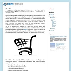 Sigma Infotech: Avail Shopping Cart Solutions for Improved Functionality of Your E-Store