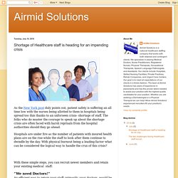 Airmid Solutions: Shortage of Healthcare staff is heading for an impending crisis