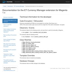 ET Web Solutions - ET Currency Manager - Technical information for the developer
