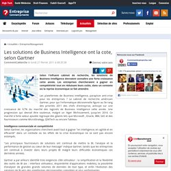 Les solutions de Business Intelligence ont la cote, selon Gartner