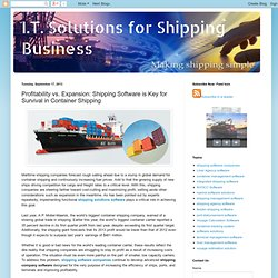 I.T. Solutions for Shipping Business: Profitability vs. Expansion: Shipping Software is Key for Survival in Container Shipping