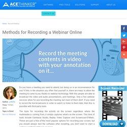 Best Solutions for Recording Webinar
