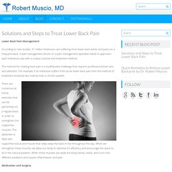 Solutions and Steps to Treat Lower Back Pain