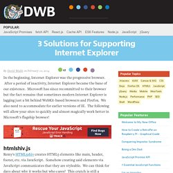 3 Solutions for Supporting Internet Explorer