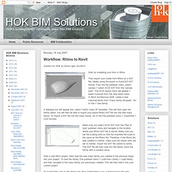 HOK BIM Solutions: Workflow: Rhino to Revit