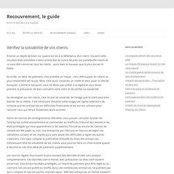 Vérifiez la solvabilité de vos clients — Guide du Recouvrement