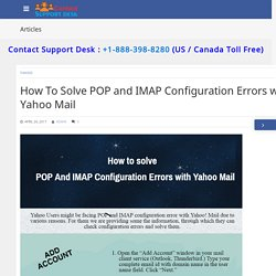 How to solve POP and IMAP Configuration Errors with Yahoo Mail -