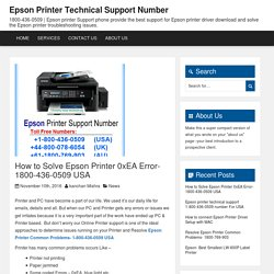 How to Solve Epson Printer 0xEA Error- 1800-436-0509 USA