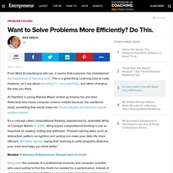 Want to Solve Problems More Efficiently? Do This.