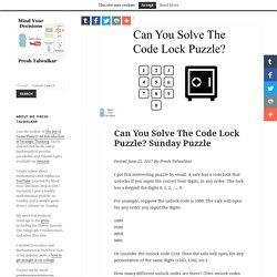 Can You Solve The Code Lock Puzzle? Sunday Puzzle – Mind Your Decisions
