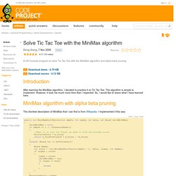 Solve Tic Tac Toe with the MiniMax algorithm