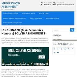 IGNOU BAECH (BA Honours) ASSIGNMENT