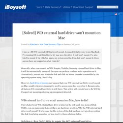 [Solved] WD external hard drive won't mount on Mac