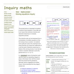 Solving equations inquiry