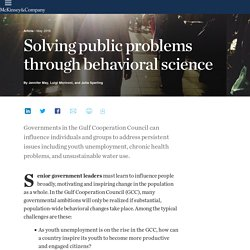 Solving public problems through behavioral science