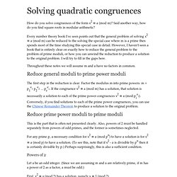 Solving quadratic congruences