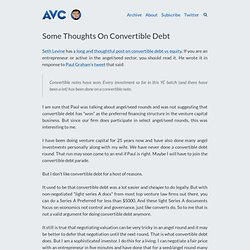 Some Thoughts On Convertible Debt