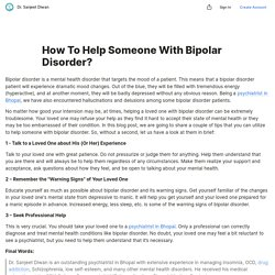 How To Help Someone With Bipolar Disorder? — Teletype