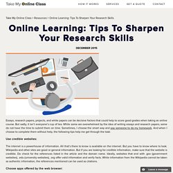Online Learning: Tips To Sharpen Your Research Skills