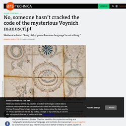 No, someone hasn't cracked the code of the mysterious Voynich manuscript