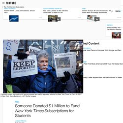 Someone Donated $1 Million worth of of NYT Subscriptions for Students