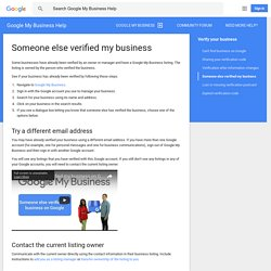 Someone else verified my business - Google My Business Help