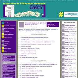 IEN St Gervais / Pays du Mont-Blanc - Sommaire des dossiers traités dans les journaux