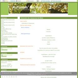 Sommaire des ressources de 6ème - Autonom'Maths