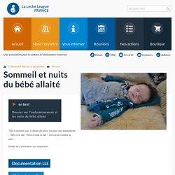 Sommeil et nuits du bébé allaité