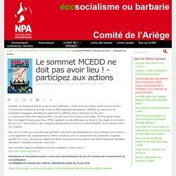 Le sommet MCEDD ne doit pas avoir lieu ! - participez aux actions