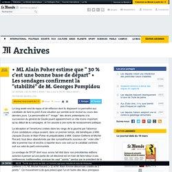 """Les sondages confirment la """"stabilité"""" de M. Georges Pompidou"""