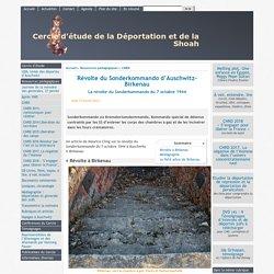 Révolte du Sonderkommando d'Auschwitz-Birkenau - [Cercle d'étude de la Déportation et de la Shoah]