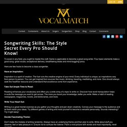 Songwriting Skills: The Style Secret Every Pro Should Know! - VocalMatch