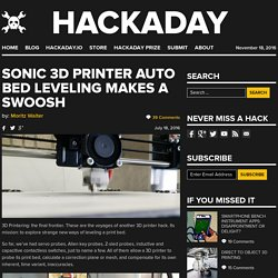 Sonic 3D Printer Auto Bed Leveling Makes a Swoosh