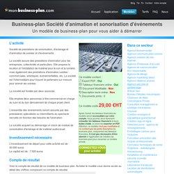 Business-plan Société d'animation et sonorisation d'événements