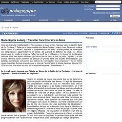 Marie-Sophie Ludwig : Travailler l'oral littéraire en 6ème