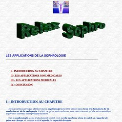 Sophrologie et Relaxation - Applications Sophrologie