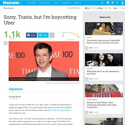 Sorry, Travis, but I'm boycotting Uber