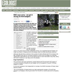 BBC says sorry - we got it wrong on Irish badgers
