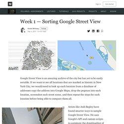 Week 1 — Sorting Google Street View – Data Mining the City