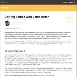 Sorting Tables with Tablesorter