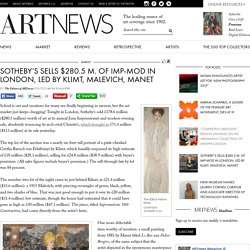Sotheby's Sells $280.5 M. of Imp-Mod in London, Led by Klimt, Malevich, Manet