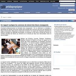 Un rapport souligne les carences du tutorat des futurs enseignants