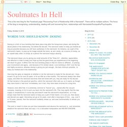 Soulmates In Hell: WORDS YOU SHOULD KNOW: DOSING