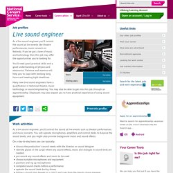 Live sound engineer Job Information