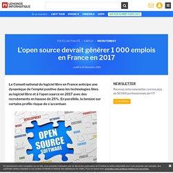 L'open source devrait générer 1 000 emplois en France en 2017